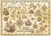 Pirate adventures, treasure hunt and old transportation concept. Hand drawn vector illustration, vintage background