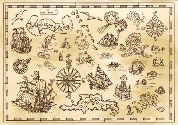 ilustrações, clipart, desenhos animados e ícones de projeto conjunto com elementos decorativos náuticos, criaturas de fantasia, detalhes de mapa de tesouro de pirata - antiguidades