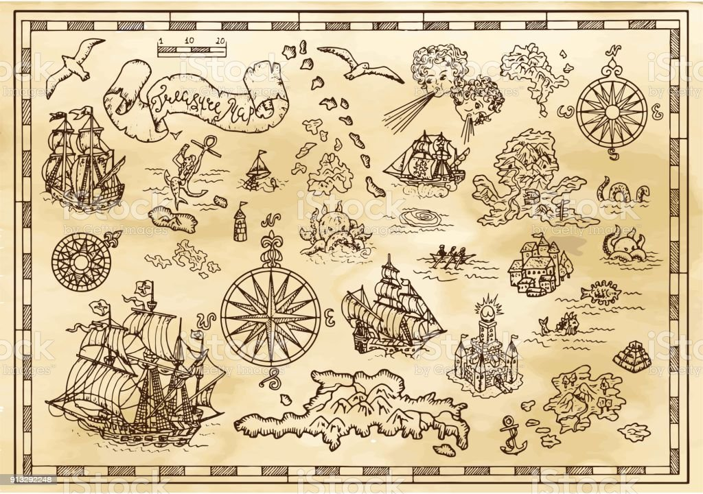 Design set with nautical decorative elements, fantasy creatures, pirate treasure map details vector art illustration