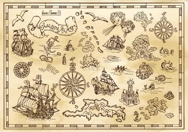 Design set with nautical decorative elements, fantasy creatures, pirate treasure map details Pirate adventures, treasure hunt and old transportation concept. Hand drawn vector illustration, vintage background ancient stock illustrations