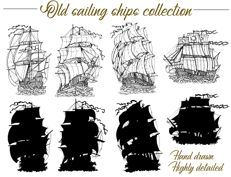 Design set with old sailing ships, ancient vessel and sailboat silhouettes