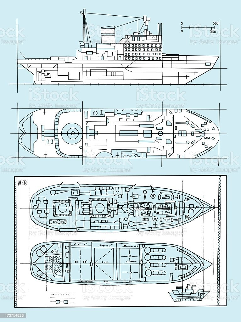 Design set with schemes of modern vessels vector art illustration