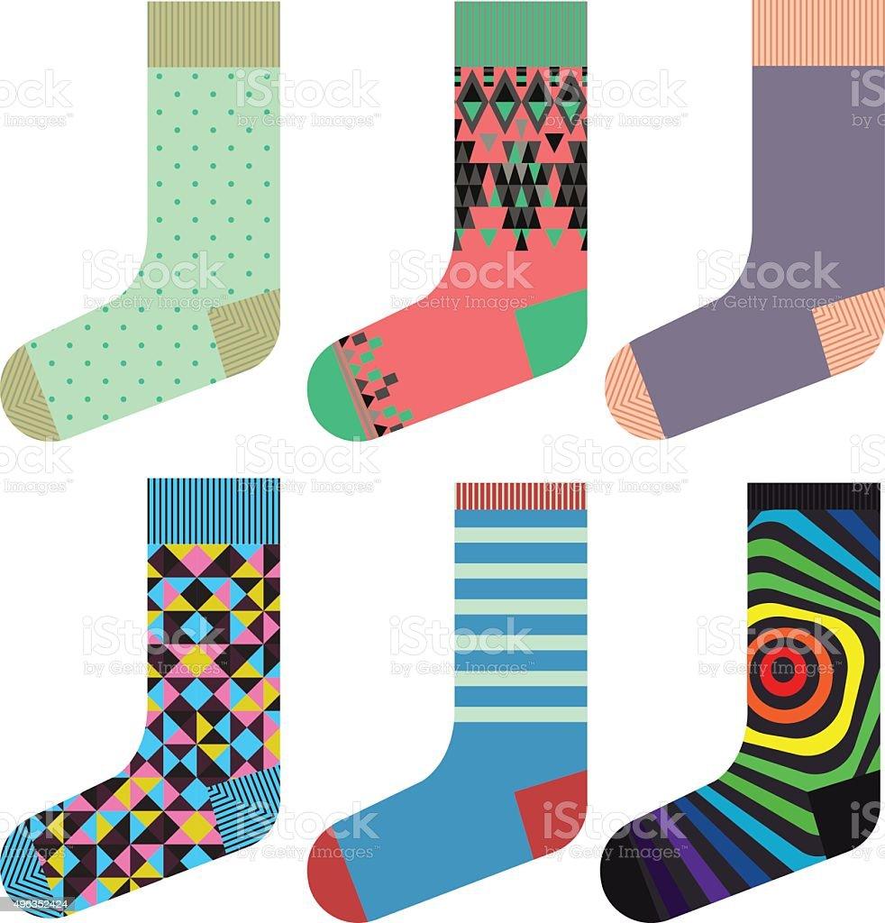 Design socks set, colorful fashionable collection vector art illustration