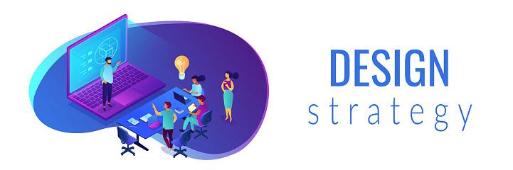 Design strategy isometric 3D banner header.