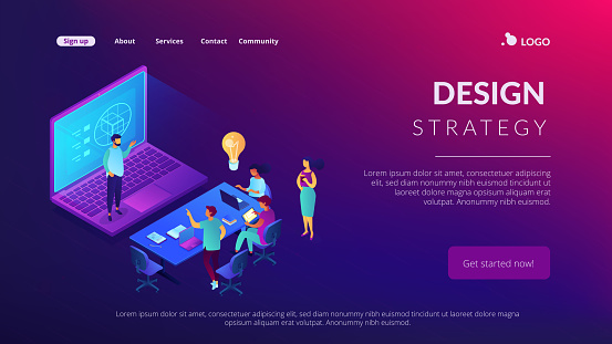 Design strategy isometric 3D landing page.
