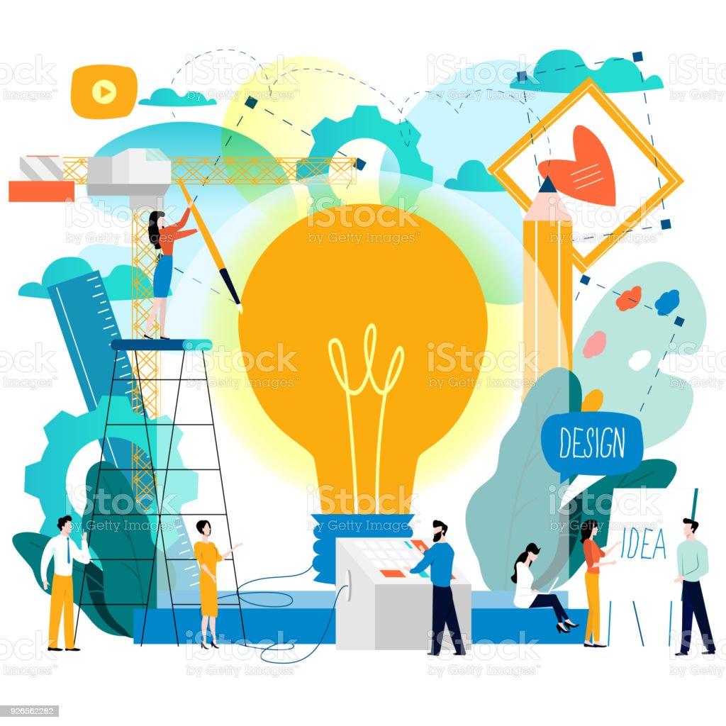 Design studio, designing, drawing, graphic design, education vector art illustration