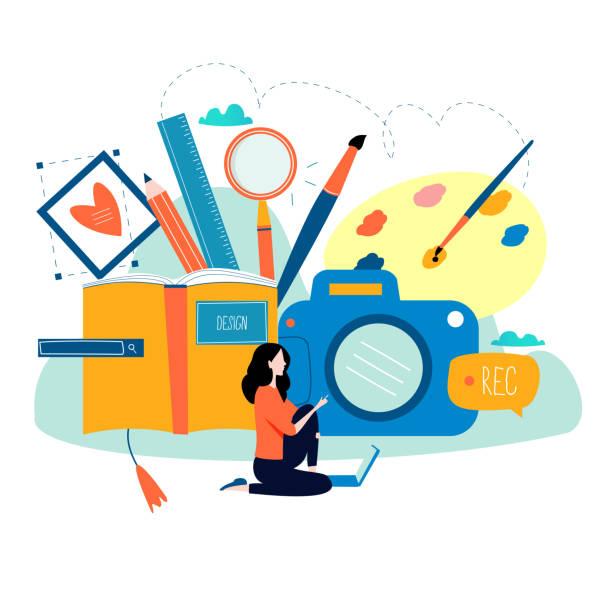 design-studio, entwerfen, zeichnen, fotografieren, grafik-design, bildung - fotografieanleitungen stock-grafiken, -clipart, -cartoons und -symbole