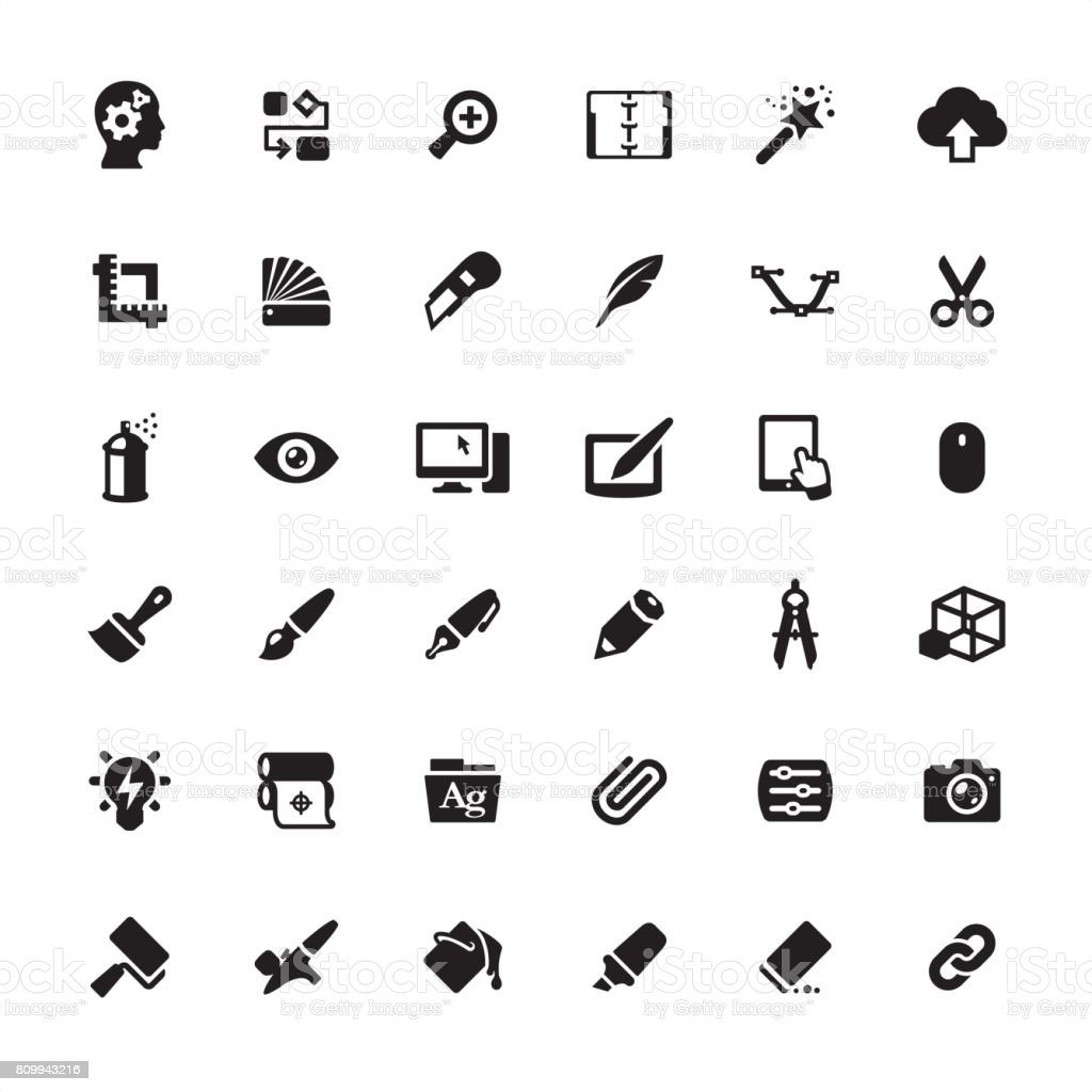Design Studio Equipment icons set vector art illustration