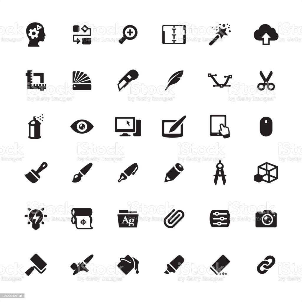 Design Studio Equipment icons set vector art illustration