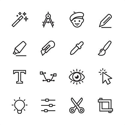 Design Studio Equipment - outline icon set