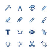 16 indigo and blue Design Studio icons set #79 Pixel perfect icon 48x48 pх, outline stroke 2 px.  First row of  icons contains: Magic Wand, Drawing Compass, Artist, Pencil;  Second row contains:  Highlighter, Utility Knife, Eyedropper, Paintbrush;  Third row contains:  Typescript, Bezier's Curve, Human Eye, Cursor;   Fourth row contains:  Light Bulb, Equalizer, Scissors, Rulers.  Complete Indigico collection - https://www.istockphoto.com/collaboration/boards/t5bVQfKvf0a-h6WHcFLuIg