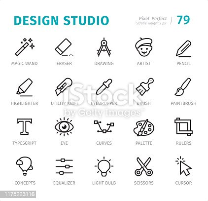 Design Studio - 20 Outline Style - Single line icons with captions / Set #79 / Designed in 48x48pх square, outline stroke 2px.  First row of outline icons contains: Magic Wand, Eraser, Drawing, Artist, Pencil;       Second row contains: Highlighter, Utility Knife, Eyedropper, Brush, Paintbrush;     Third row contains: Typescript, Eye, Curves, Palette, Rulers;  Fourth row contains: Concepts, Equalizer, Light Bulb, Scissors, Cursor.  Complete Signico collection - https://www.istockphoto.com/collaboration/boards/VT_7sDWo80OLh7foVxchBQ