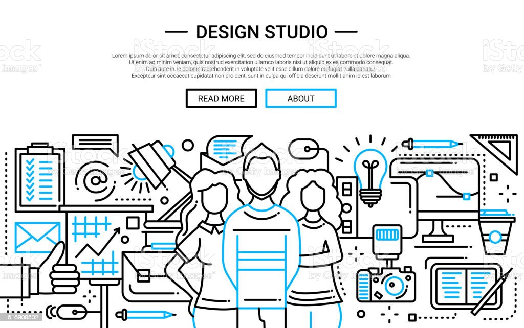 Design Studio - simple line website banner vector art illustration