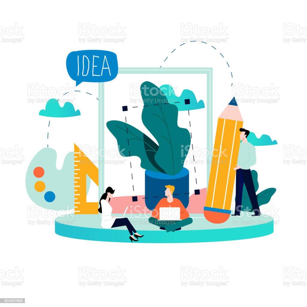 Design studio team, designing, drawing, graphic design, creativity, ideas flat vector vector art illustration