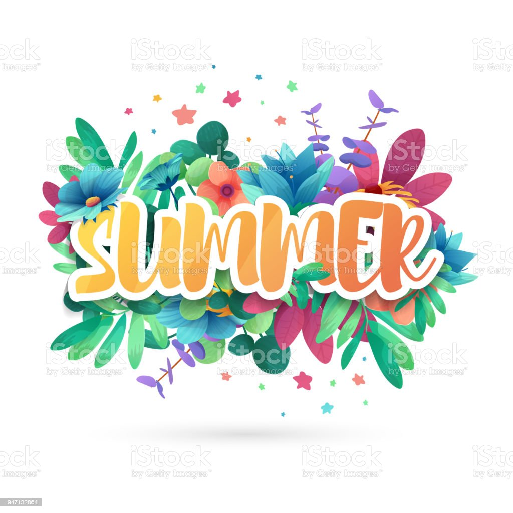 Design Symbol For Summer Banner With Flower Icon And Leaf For Summer ...