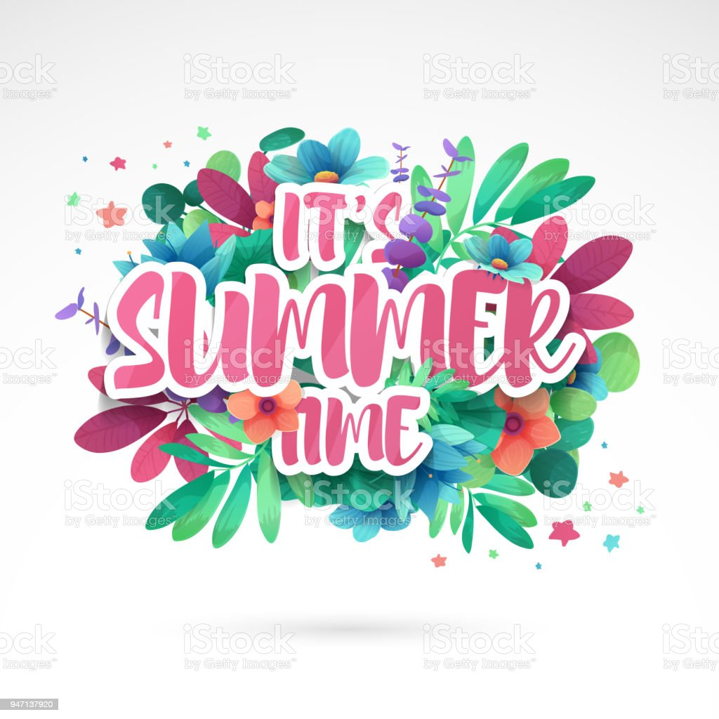 Design Symbol Its Summer Time Banner With Flower And Leaf For Summer ...