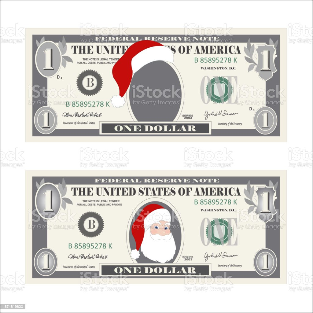 design template 1 dollar banknote with santa claus one dollar bill