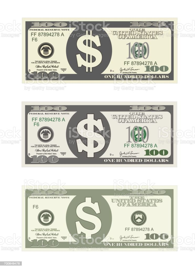 Design Template 100 Dollars Banknote Stock Vector Art & More Images ...