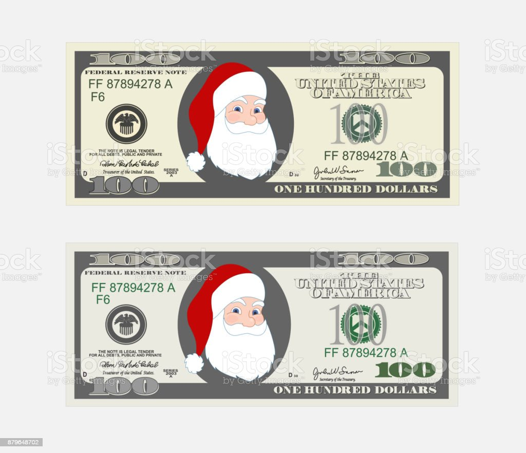 Design Template 100 Dollars Banknote With Santa Claus Bill One ...