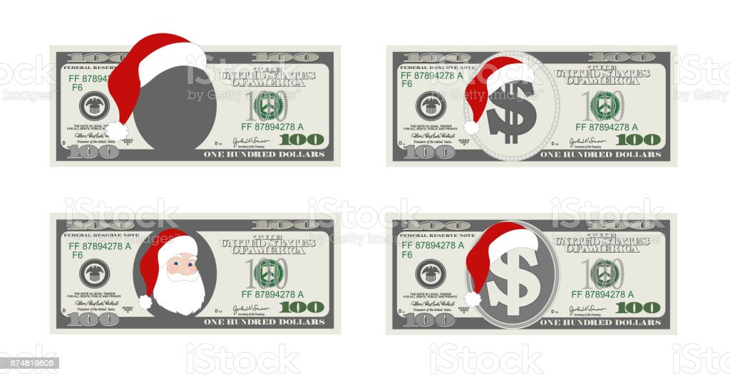 Design Template 100 Dollars Banknote With Santa Claus One Hundred