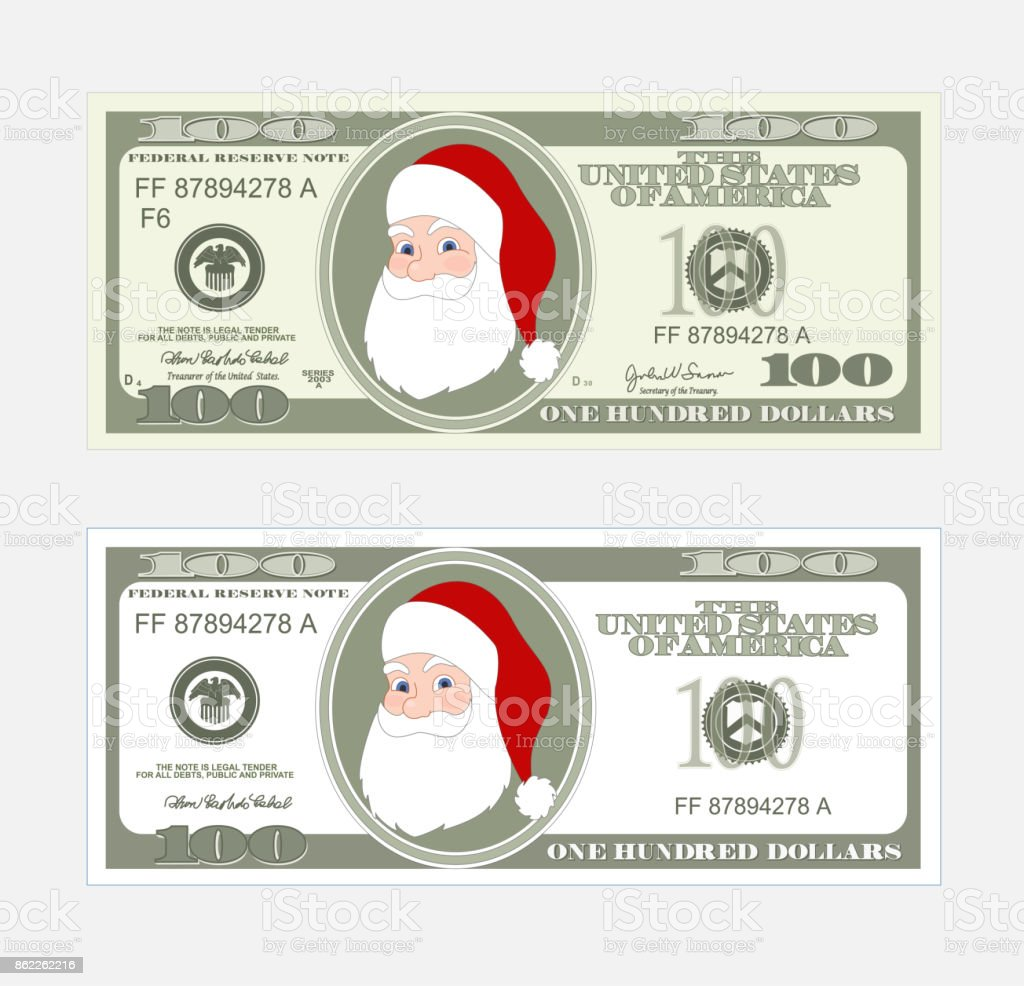 Design template 100 dollars banknote with santa claus stock vector design template 100 dollars banknote with santa claus royalty free stock vector art pronofoot35fo Choice Image