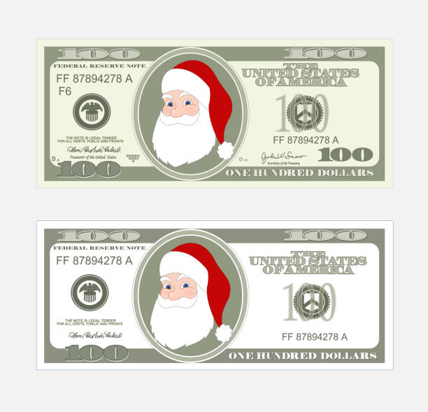 Design template 100 Dollars Banknote with Santa Claus. Design template 100 Dollars Banknote with Santa Claus. Bill one hundred dollars. Suitable for discount cards, leaflet, coupon, flyer, vouchers. Vector in  flat style. USD isolated on white background. american one hundred dollar bill stock illustrations