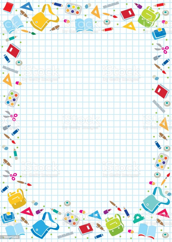Design template background with education supplies vector art illustration