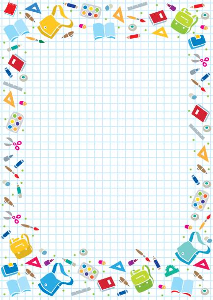 design template background with education supplies - primary school stock illustrations, clip art, cartoons, & icons