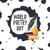 Design Template Card For World Poetry Day Simple Text With
