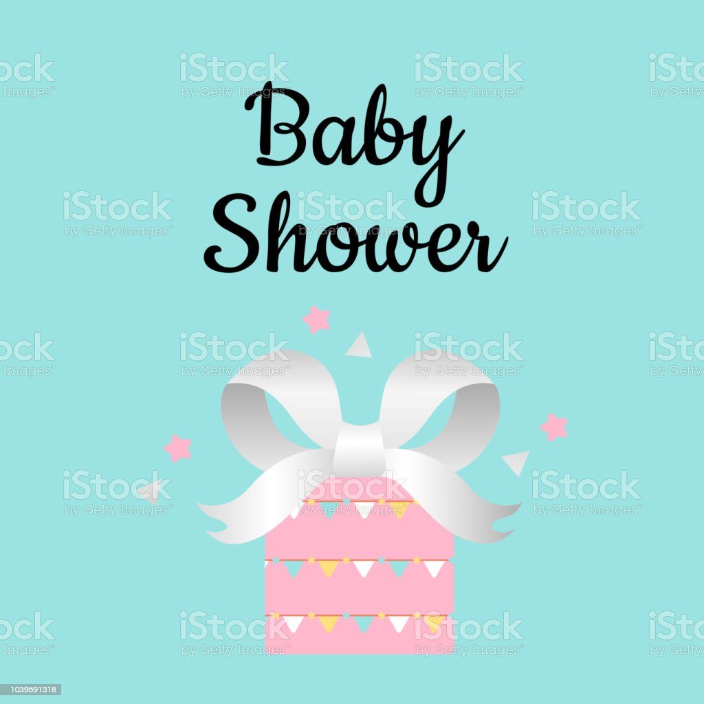 Design Template Card With Gift Box For Baby Shower Stock