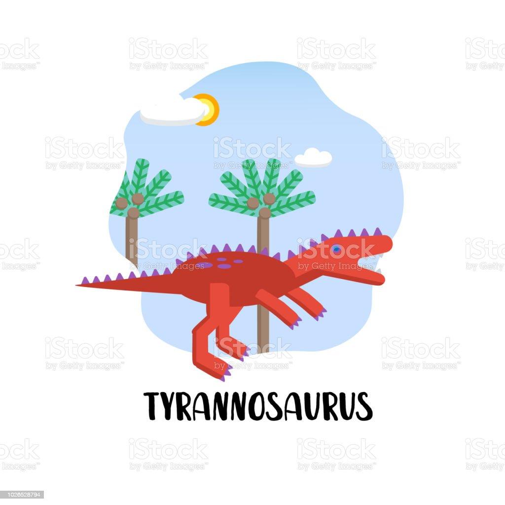 Ilustración de Tarjeta De Plantilla De Diseño Con Tyrannosaurus En ...