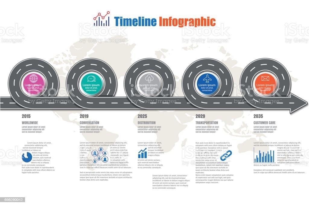 Ilustración de Plantilla De Diseño Infografía De Línea De Tiempo ...