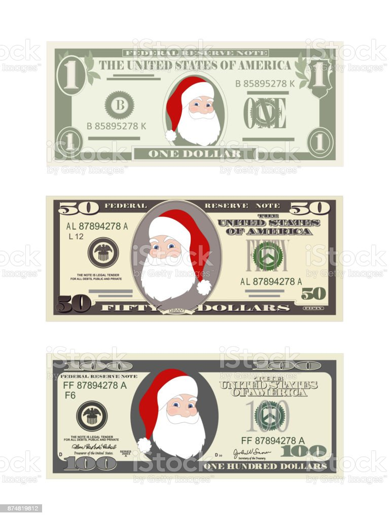 Design Template Dollars Bill With Santa Claus Christmas Set Of ...