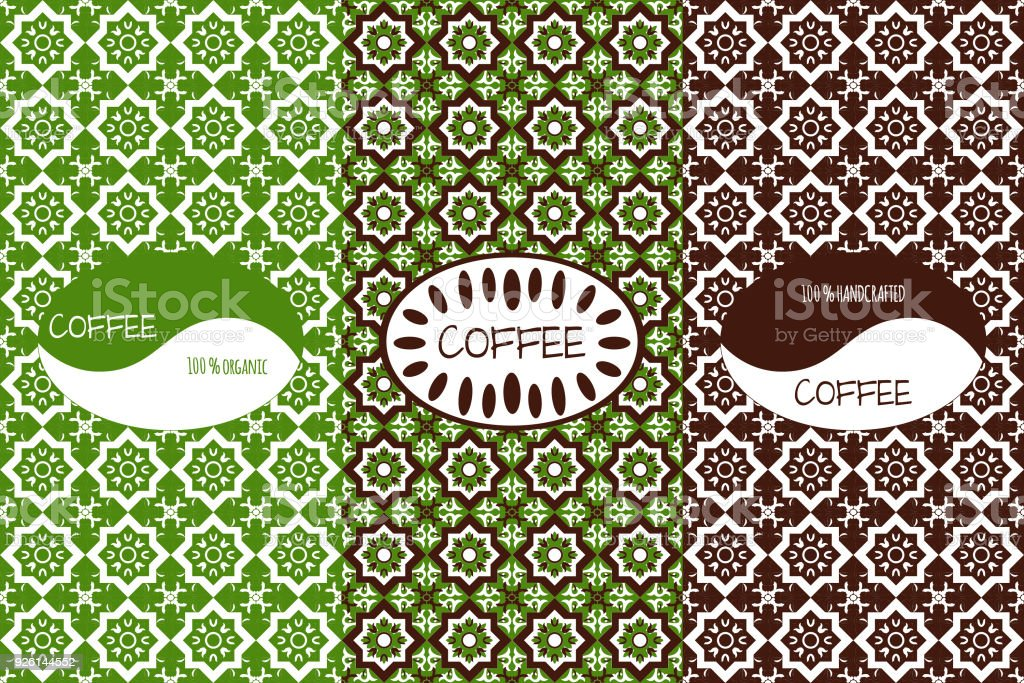design template for coffee label coffee package with ornament