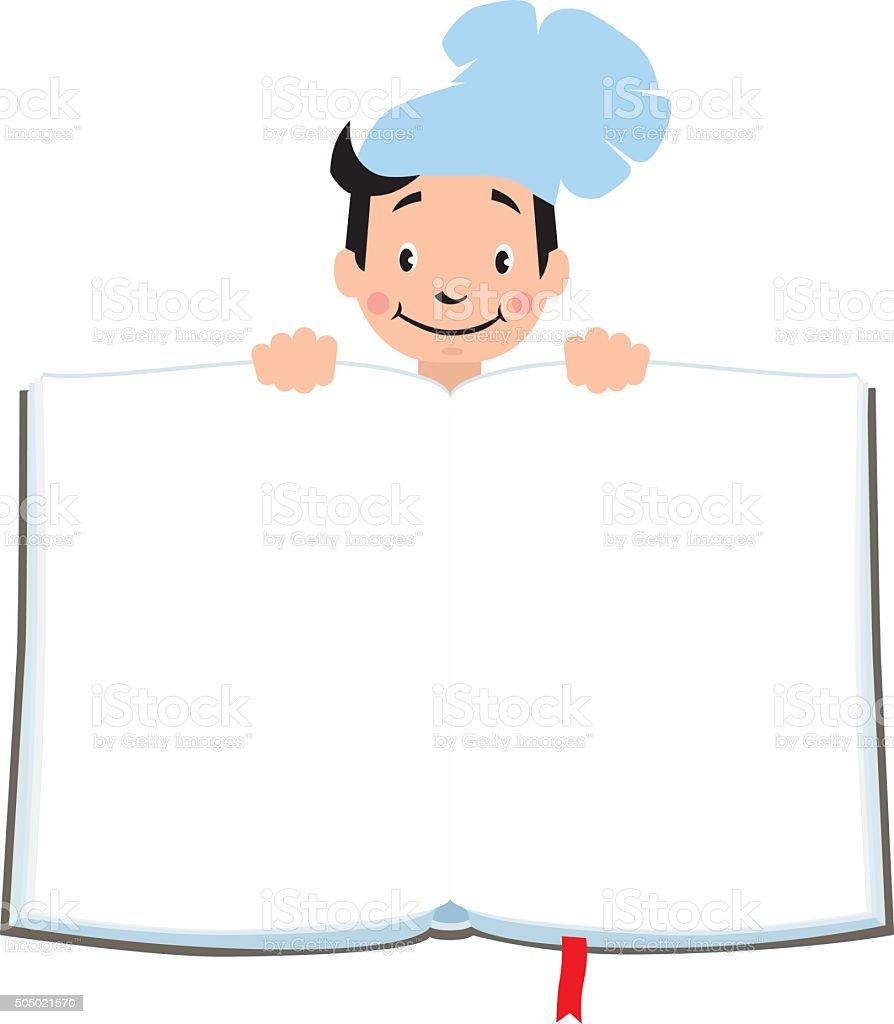 Design template for Kids Menu with funny cook boy vector art illustration