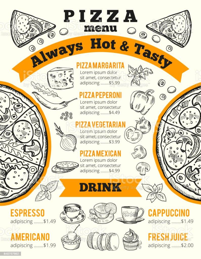 Ilustración de Plantilla De Diseño Para El Menú De Pizzería ...