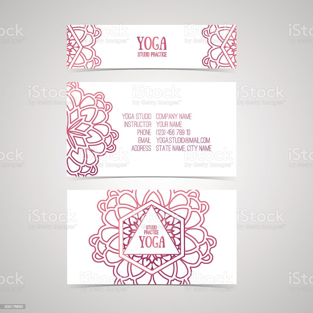 Design template for yoga studio business card with abstract mandala design template for yoga studio business card with abstract mandala royalty free design template for reheart