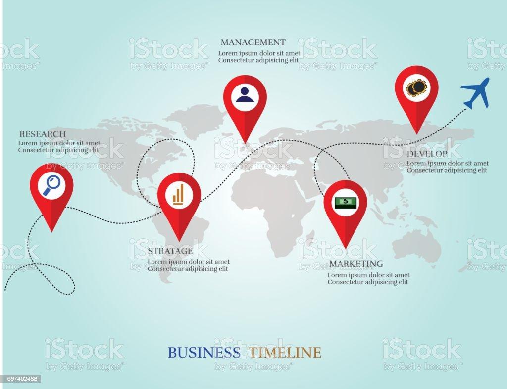 デザイン テンプレート 地図ビジネス タイムラインでベクター