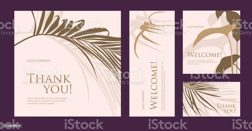 Designvorlage Von Visitenkarten Mit Palmblättern Silhouette