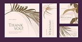 A set of postcard with the words of gratitude. Vector illustration