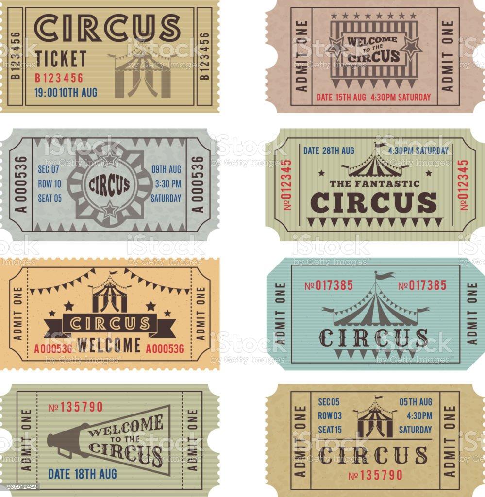 Plantilla de diseño de las entradas de circo - ilustración de arte vectorial