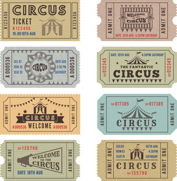 illustrations, cliparts, dessins animés et icônes de modèle de conception de billets de cirque - billet