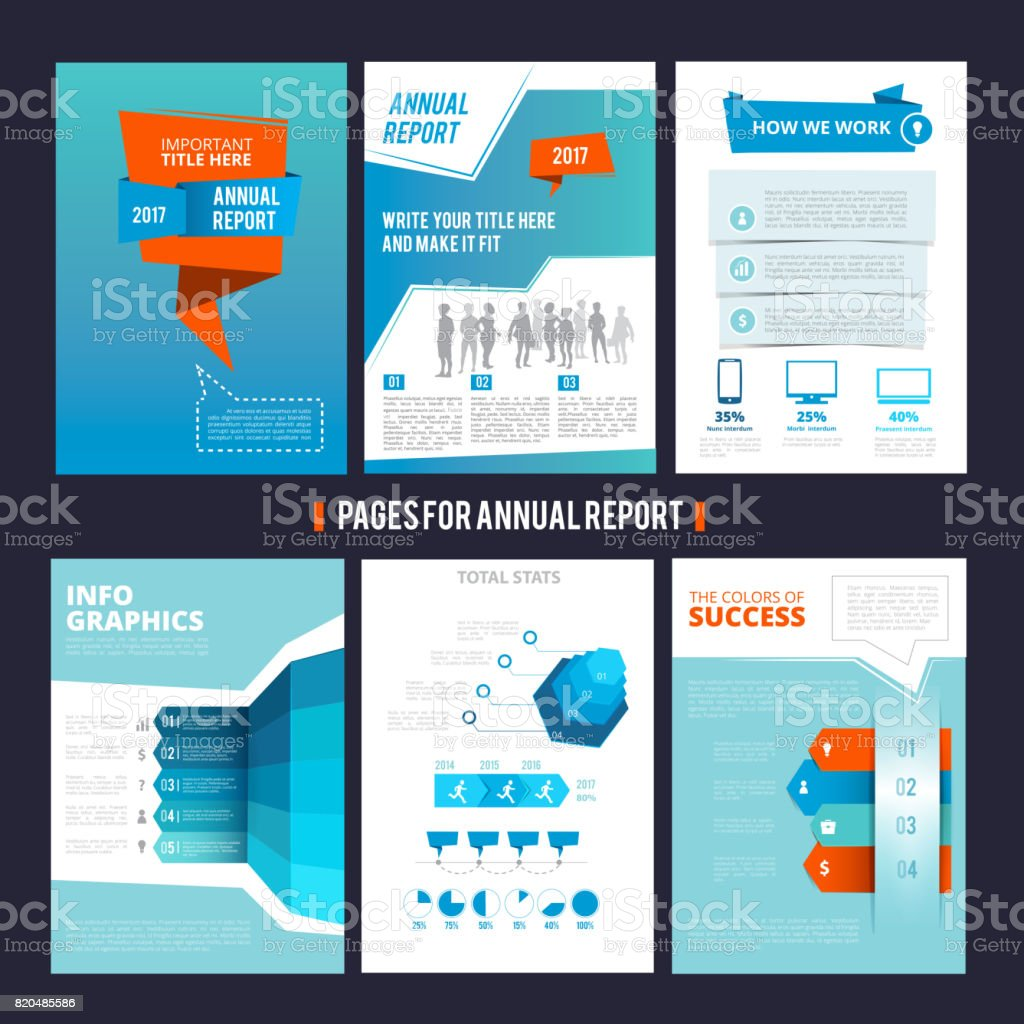 Design template of corporation annual report. Vector pages layout with place for your text vector art illustration