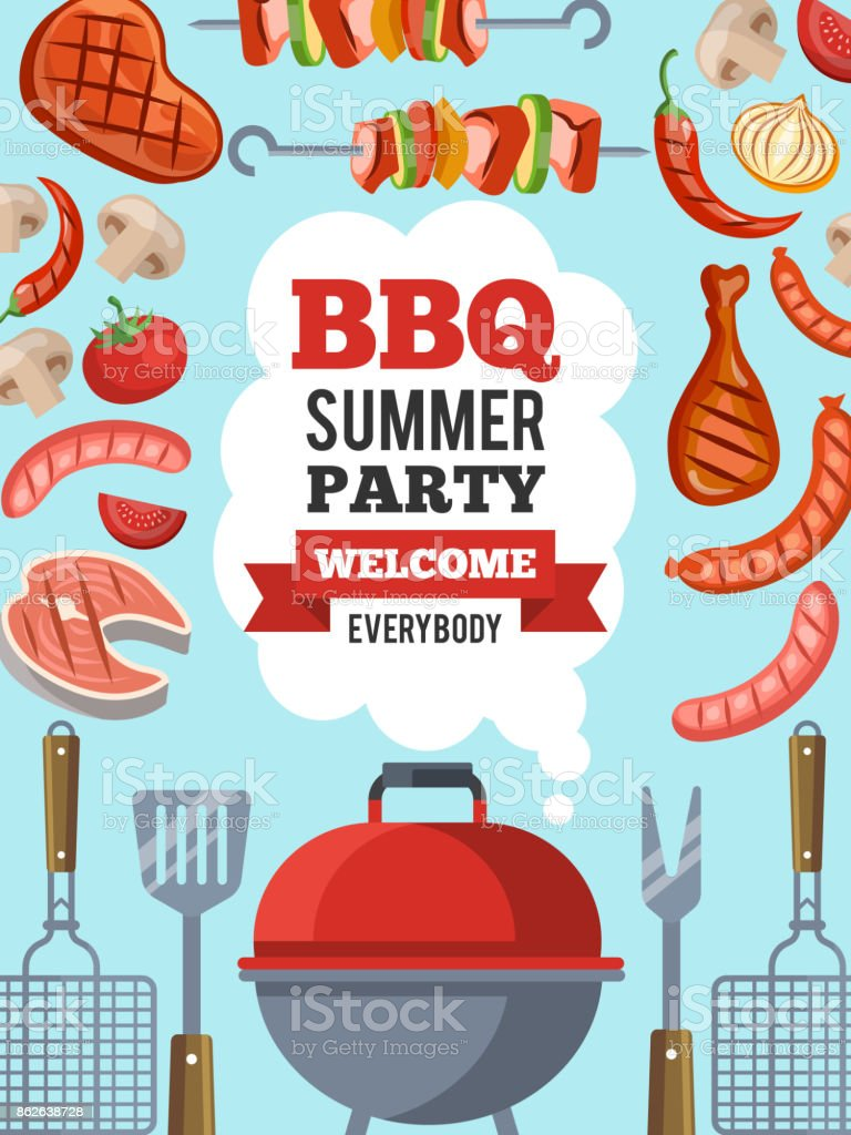 Design template of invitation for bbq party. Vector poster illustration with place for your text vector art illustration