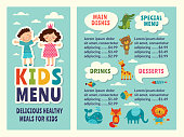 Design template of kids menu with colored funny pictures and place for your text. Kids menu restaurant or cafe with dessert and drink. Vector illustration