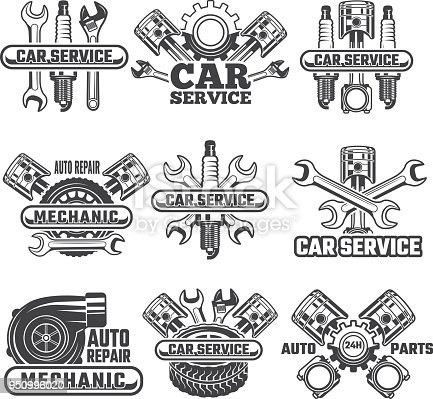 Design template of labels and badges with automobile tools and details. Vector auto transport icon service, motor automotive repair badge illustration