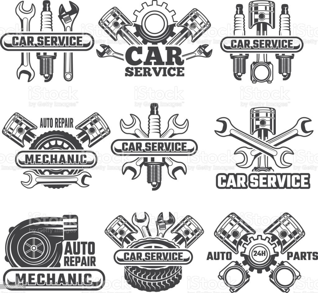 Design template of labels and badges with automobile tools and details vector art illustration