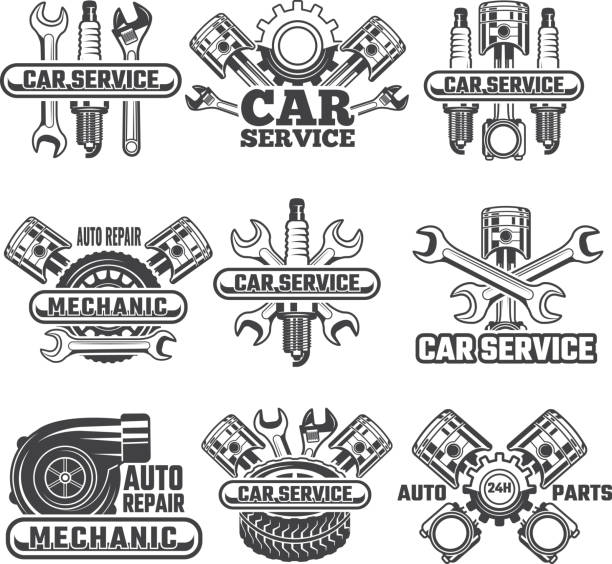 design template of labels and badges with automobile tools and details - mechanic stock illustrations, clip art, cartoons, & icons