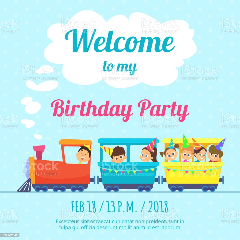 Design Template Of Poster For Kids Party Invitation Illustration Of ...