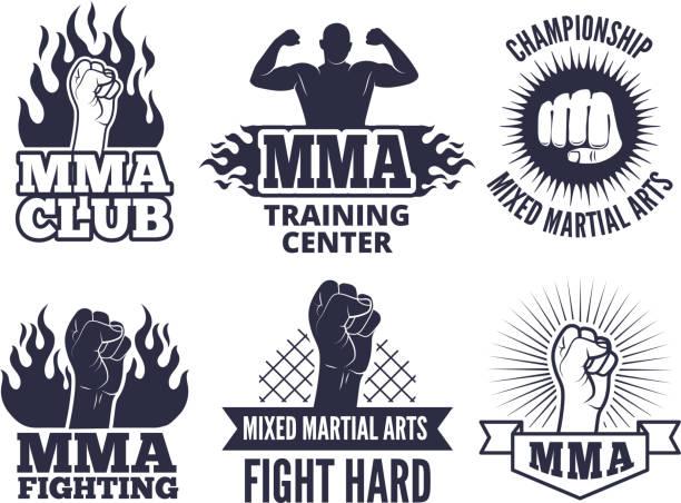 stockillustraties, clipart, cartoons en iconen met ontwerpsjabloon van sport martial labels voor mma vechters - mma
